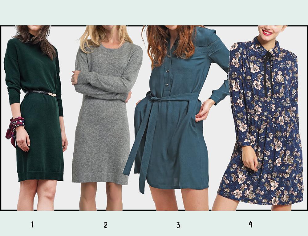 Sukienki na jesień - kolaż 2