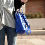 Loopy cardigan&cobalt bag